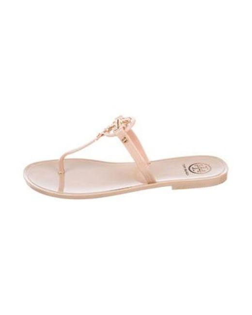 4b13c35be6df18 Tory Burch - Natural Mini Miller Logo Sandals Tan - Lyst ...