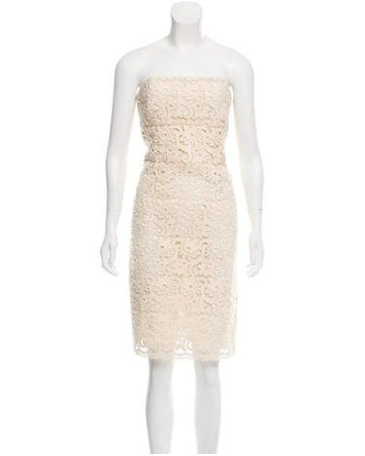 edfb3b4d6f9 Michael Kors - Natural Guipure Lace Strapless Dress Beige - Lyst ...