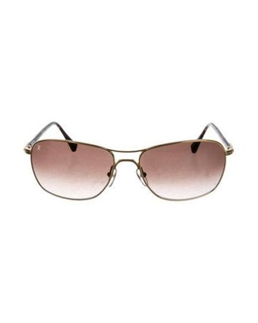ce2cd465289de Louis Vuitton - Metallic Conspiration Pilote Canvas Sunglasses Gold - Lyst  ...