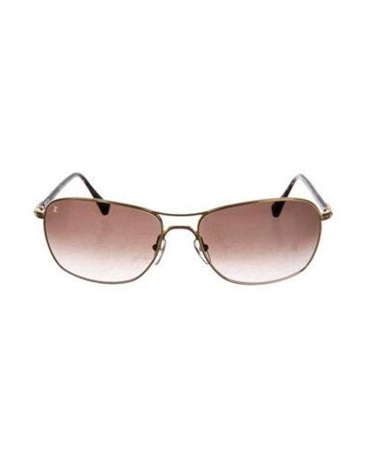 c70183ce22f3 Louis Vuitton - Metallic Conspiration Pilote Canvas Sunglasses Gold - Lyst  ...