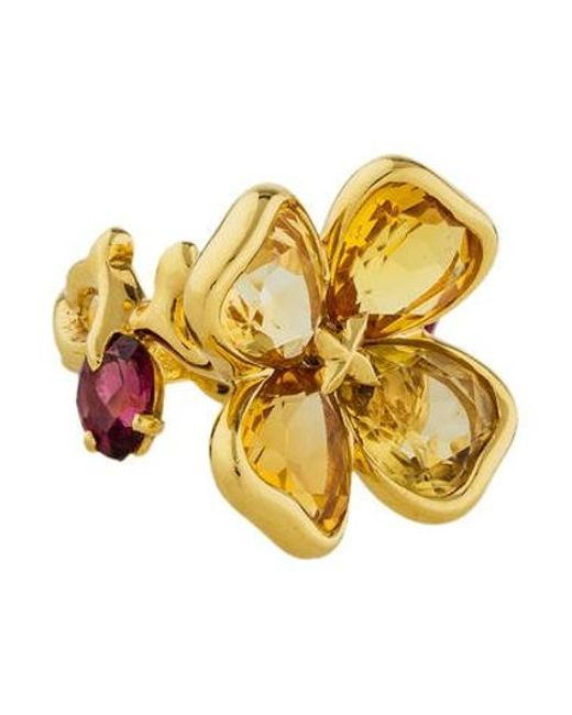 Chanel - Metallic Camellia Citrine & Garnet Flower Ring Yellow - Lyst