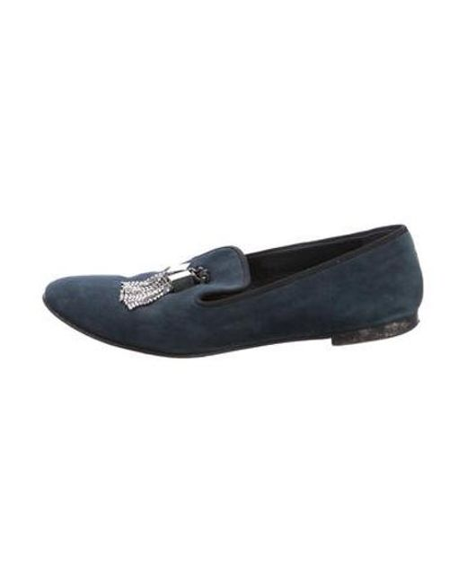 f5ac242271b Giuseppe Zanotti - Blue Suede Embellished Loafers - Lyst ...