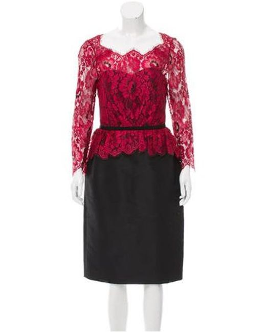 Carolina Herrera - Black Guipure Lace Satin Dress - Lyst