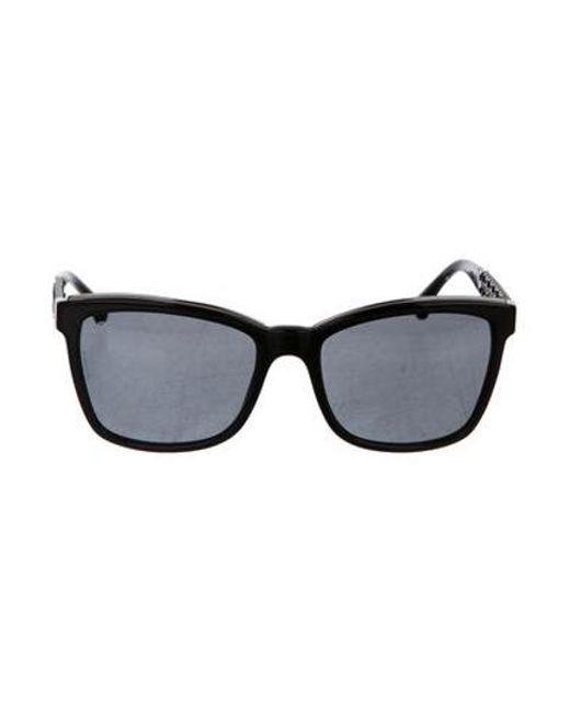 68cd597dbaa5 Chanel - Black Bijoux Cat-eye Sunglasses - Lyst ...