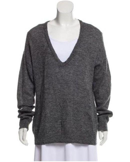 acc706e7397c Tory Burch - Gray Wool V-neck Sweater Grey - Lyst ...