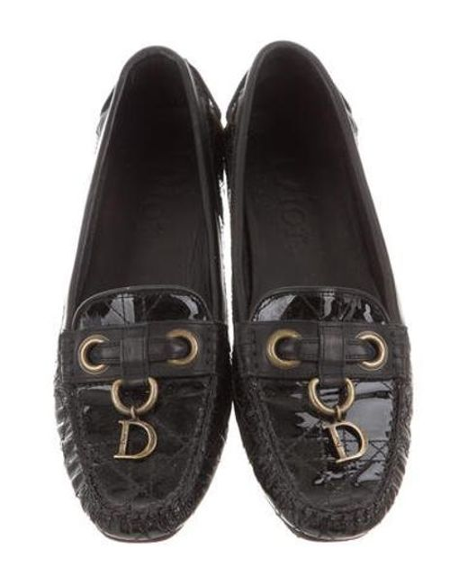 d6fa23f6291 ... Dior - Metallic Cannage Patent Leather Loafers Black - Lyst ...