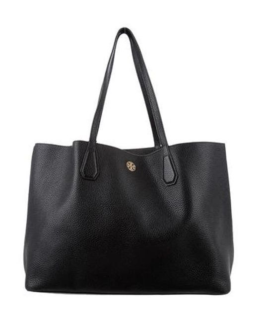 5bee213350 Tory Burch - Metallic Grained Leather Tote Black - Lyst ...