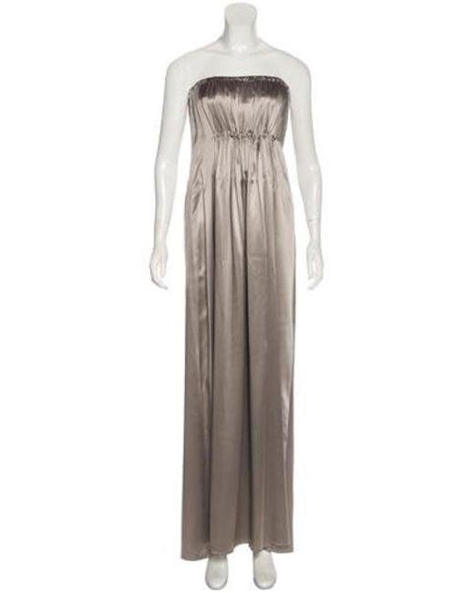 Lyst Ch By Carolina Herrera Strapless Evening Dress Grey In Gray