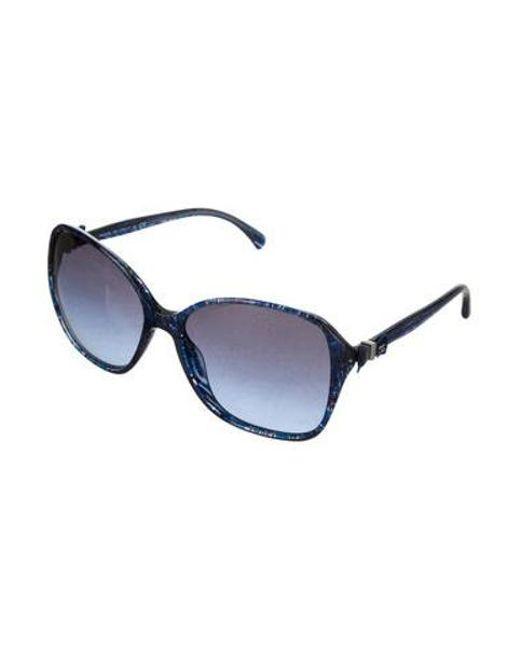 e4d2db768847e ... Chanel - Metallic Cc Bow Sunglasses Blue - Lyst ...