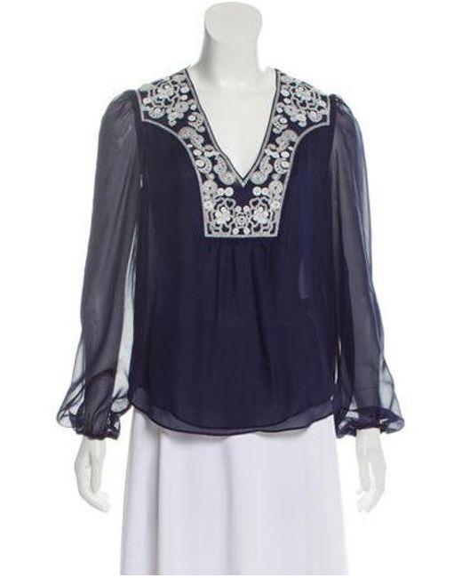 71aec37d76da3 Diane von Furstenberg - Blue Maslyn Silk Top - Lyst ...