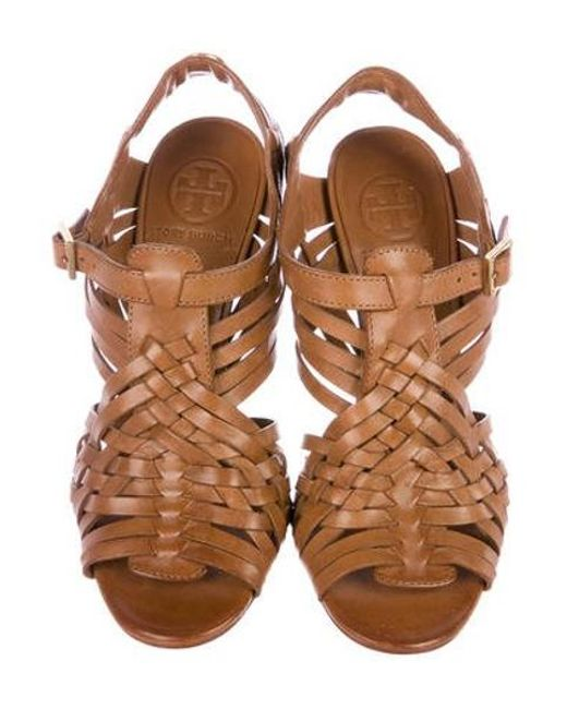 0b80640ca0f9 ... Tory Burch - Brown Leather Caged Sandals - Lyst ...