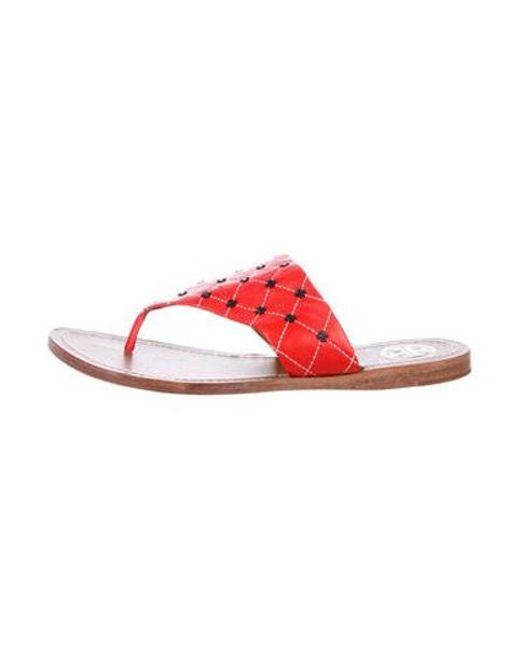 90fafa3c876818 Tory Burch - Red Flat Thong Sandals - Lyst ...