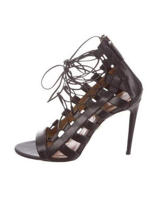 98af20e915b Aquazzura - Black Amazon Leather Sandals - Lyst ...