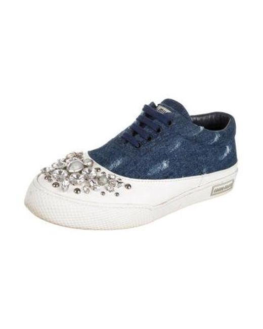23c5fe11d6f2 ... Miu Miu - Blue Miu Embellished Low-top Sneakers - Lyst ...
