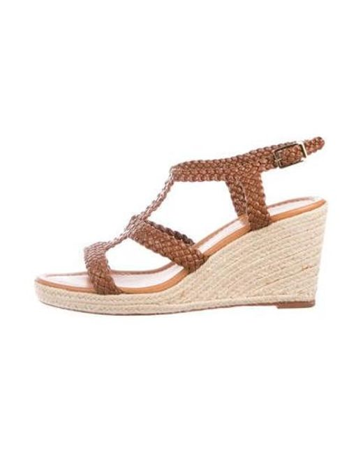 1ad6aa3db9 Kate Spade - Brown Leather Wedge Sandals - Lyst ...