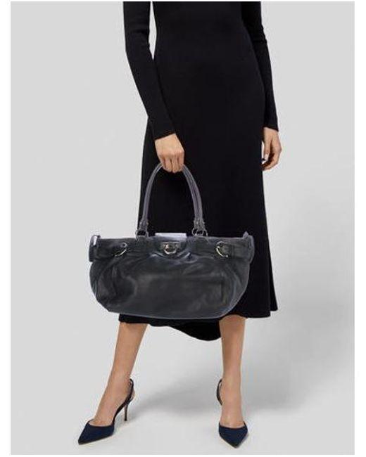 a9c79530c6d ... Ferragamo - Metallic Large Marisa Bag Black - Lyst ...