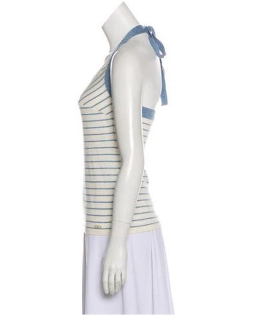 edcac84ded6 ... Chanel - White Striped Halter Top - Lyst ...