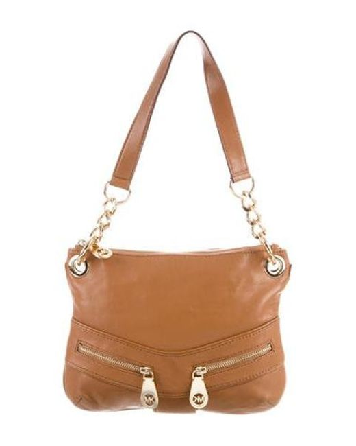 a842e28e4541 MICHAEL Michael Kors - Metallic Michael Kors Leather Shoulder Bag Brown -  Lyst ...