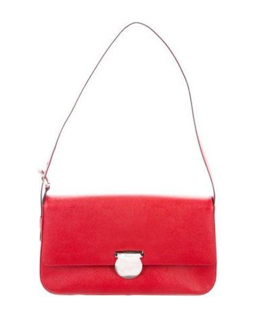 a0c2665dbb73 Ferragamo - Metallic Leather Crossbody Bag Red - Lyst ...