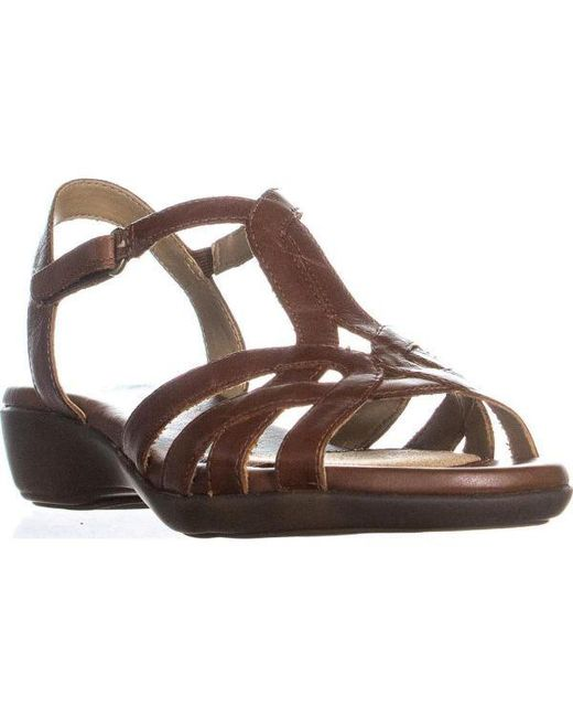 2c89fca6d64c Naturalizer - Brown Nella Ankle Strap Sandals - Lyst ...