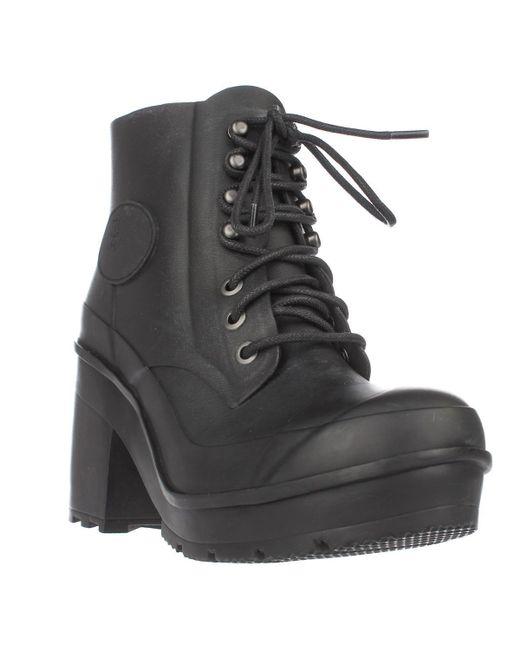 Hunter | Black Original Block Heel Lace Up Rainboots | Lyst