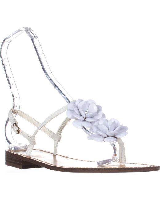 Callisto | White Poli T-strap Flower Sandals | Lyst