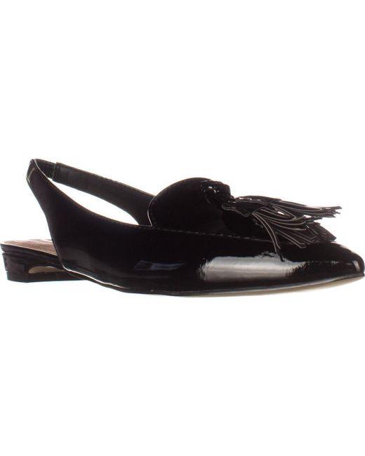 Tahari   Paulina Slingback Tassel Pointed Toe Loafers - Black   Lyst
