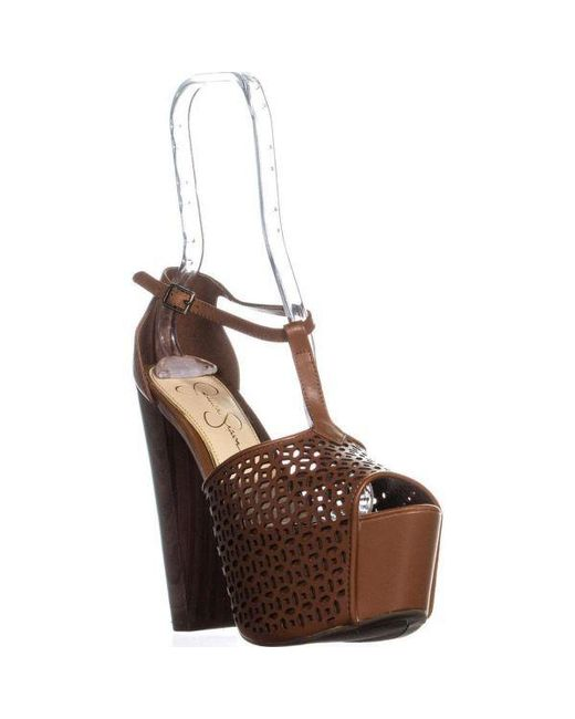 9622f1be1da Jessica Simpson - Brown Dany5 T-strap Perforated Platform Sandals - Lyst ...
