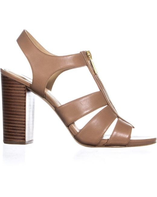 6313a5a4d ... Michael Kors - Brown Damita Sandal Block Heel Front Zip Sandals - Lyst  ...