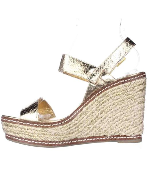 lauren by ralph lauren lauren ralph lauren serana wedge espadrille sandals gold in metallic lyst. Black Bedroom Furniture Sets. Home Design Ideas