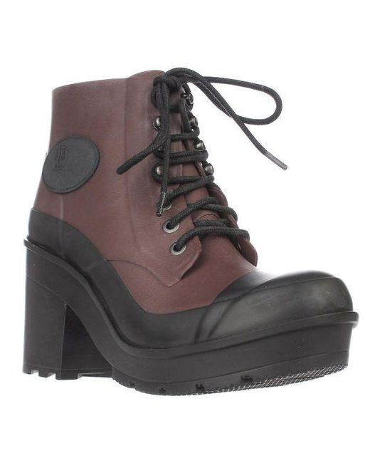 658ef5c41bfefc Lyst - HUNTER Original Block Heel Lace Up Rainboots in Black - Save ...