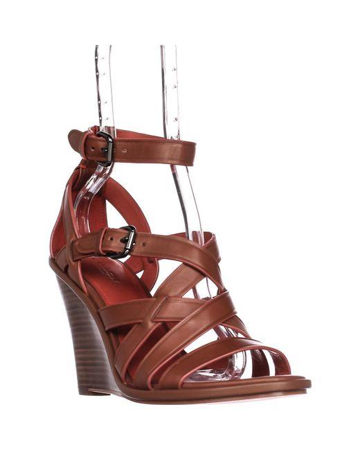 COACH | Brown Dawn Strappy Wedge Sandals | Lyst