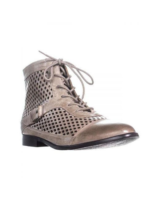 Kensie - Brown Rahi Perforated Lace Up Ankle Boots - Lyst