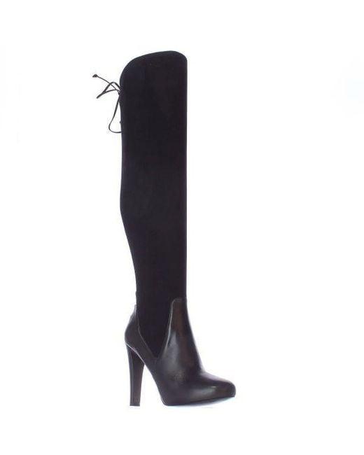Nine West - Brenna Back Lace Up Over The Knee Dress Boots - Black/black - Lyst