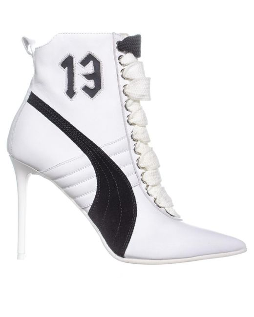 ea8633bd31e07a Lyst - PUMA Fenty High Heel Sneaker Ankle Boots in White - Save 14%