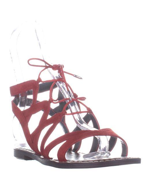 76f183fa7b0 Sam Edelman - Orange Gemma Flat Gladiator Lace Up Sandals - Lyst ...