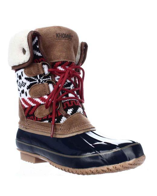 Khombu - Blue Jenna Fleece Lined Mid Calf Winter Boots - Lyst