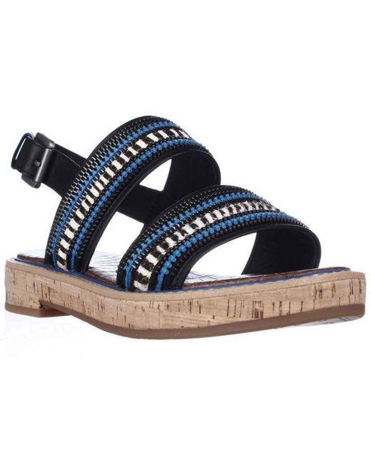 29e5fd9cbc8c8a Lyst - Sam Edelman Nala Flat Sling-back Sandals in Blue - Save 13%