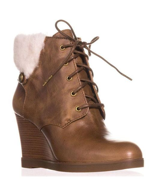 Michael Kors - Brown Michael Carrigan Wedge Knit Cuff Lace Up Ankle Boots - Lyst