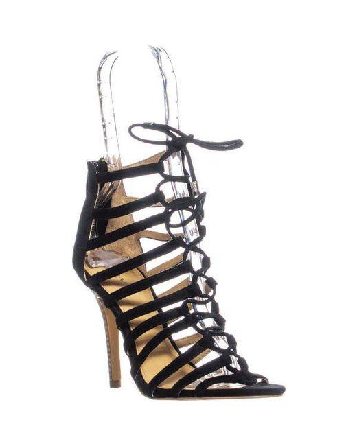 f61f3c78cebff Coach Salvadora Lace Up Heels in Black - Lyst