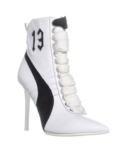 dcbd6e7d0dfe Lyst - PUMA Fenty High Heel Sneaker Ankle Boots in White - Save 14%
