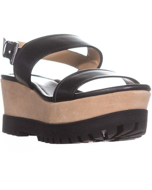 807d09d64ce Michael Kors - Black Michael Gillian Mid Wedge Platform Sandals - Lyst ...
