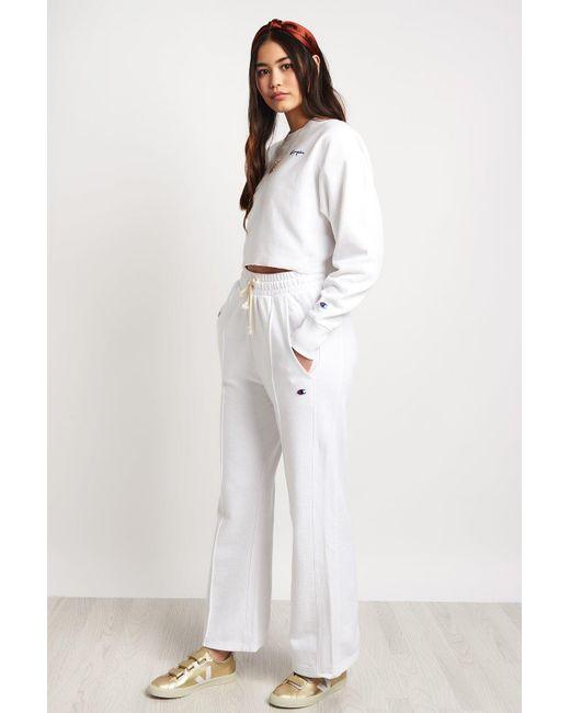788d18e7e0d ... Champion - White Oversized Cropped Raw Edge Sweatshirt - Lyst ...