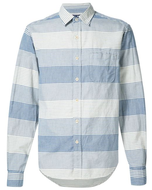 Alex mill striped button down shirt in blue for men lyst for Striped button down shirts for men