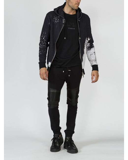 Balmain - Black Printed Hoodie for Men - Lyst