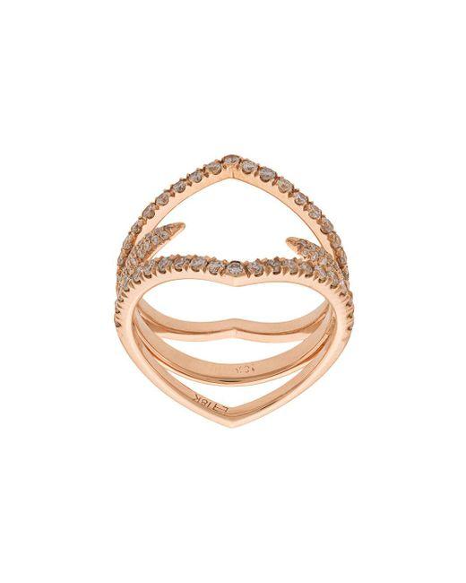 Eva Fehren - Metallic Captain Diamond Detail Ring - Lyst