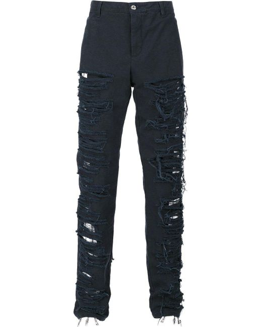 Hood By Air - Blue Canvas Shredded Pants for Men - Lyst