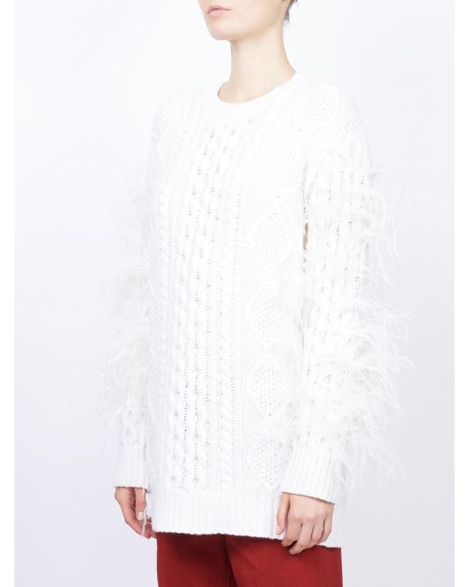 feather embellished sweater - White Valentino Shopping Online Cheap Price Discounts For Sale Buy Cheap From China kc6tcgX2