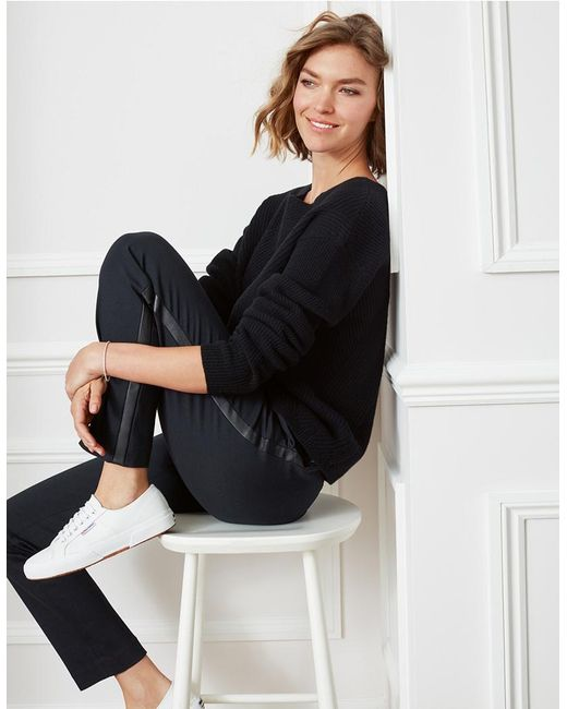 The White Company - Black Tux Side Stripe Trousers - Lyst