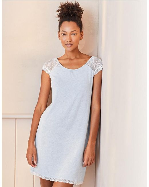 The White Company - Blue Lace Cap Sleeve Nightgown - Lyst